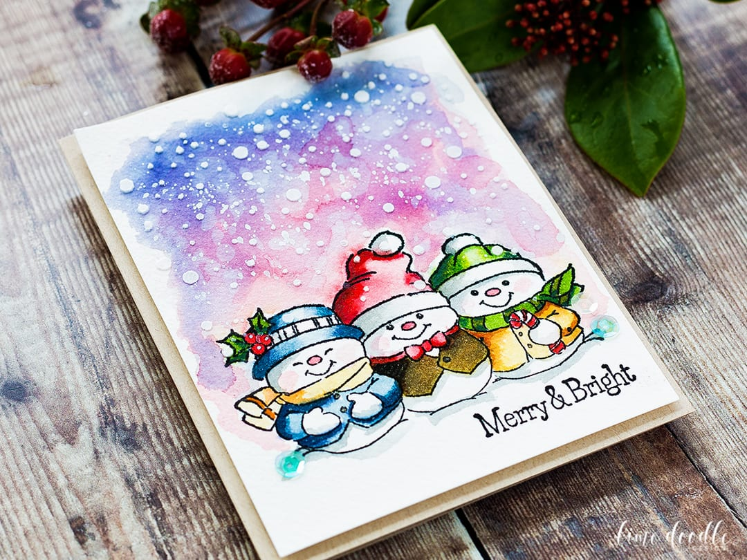 Distress Ink Watercolored Snowmen