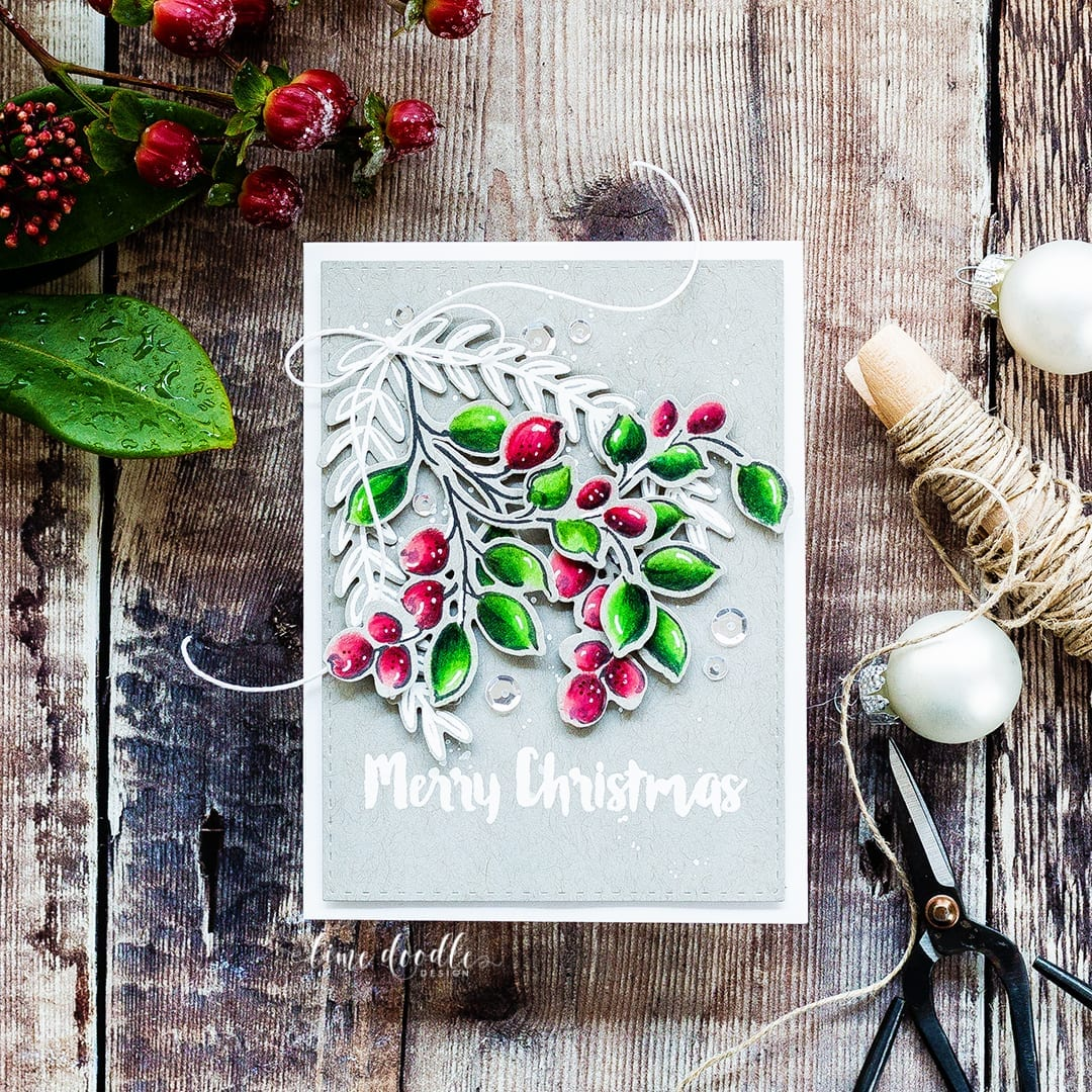 Winter berries Christmas card by Debby Hughes. Find out more by clicking on the following link: https://limedoodledesign.com/2016/12/winter-berries-colored-pencils-on-kraft-card/