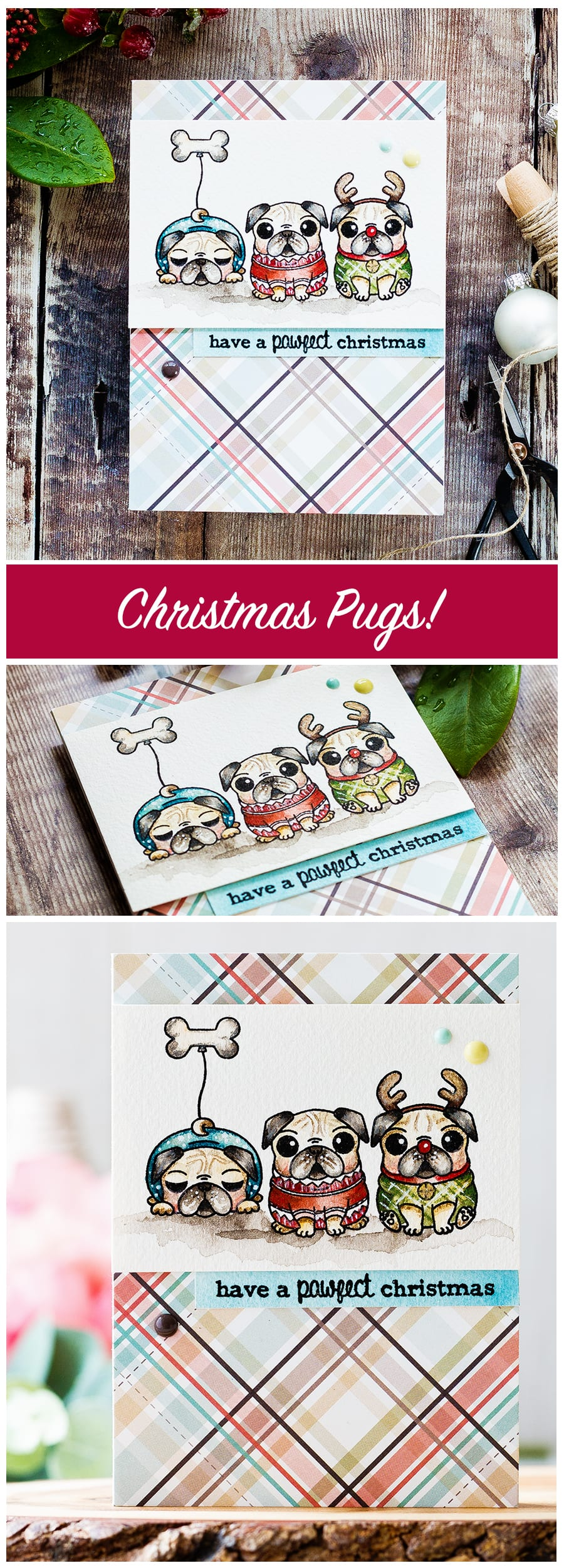 Watercolored cute pug dog Christmas card by Debby Hughes. Find out more about this Christmas card by clicking on the following link: https://limedoodledesign.com/2016/12/advent-calendar-extravaganza-with-taheerah-atchia/