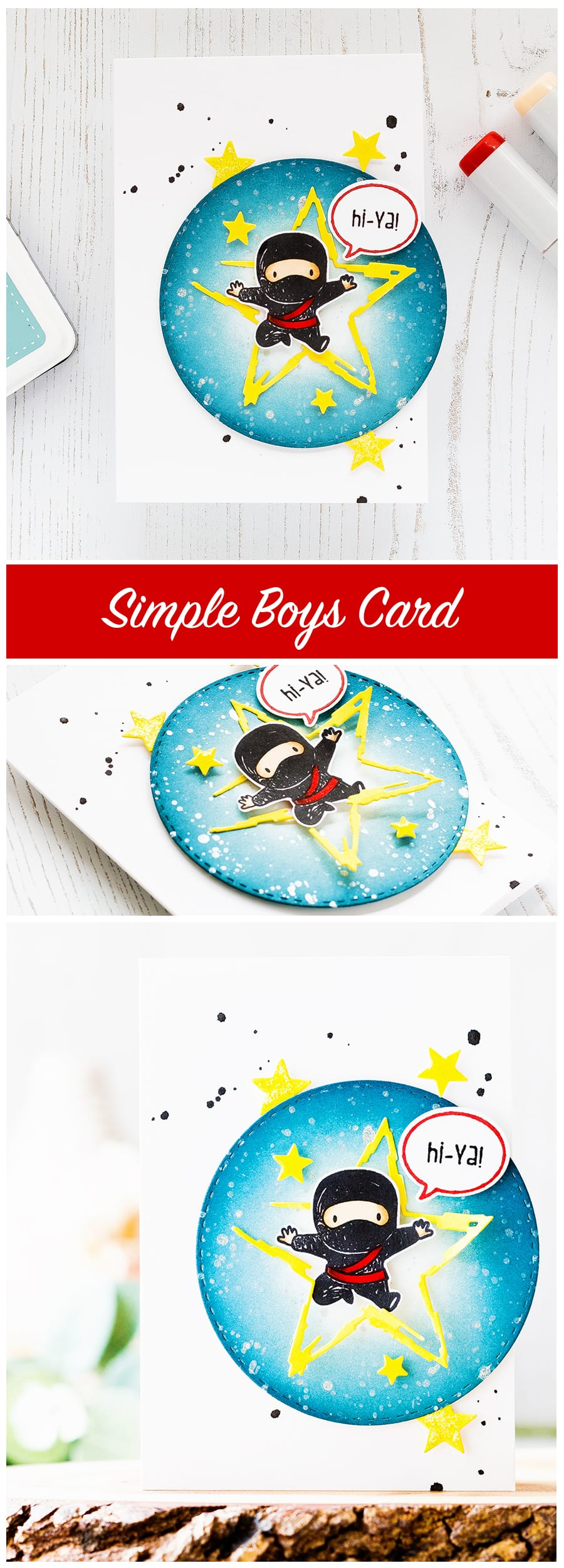 Fun but simple and easy Ninja boys card. Find out more by clicking on the following link: https://limedoodledesign.com/2016/12/hi-ya-simple-boys-card/