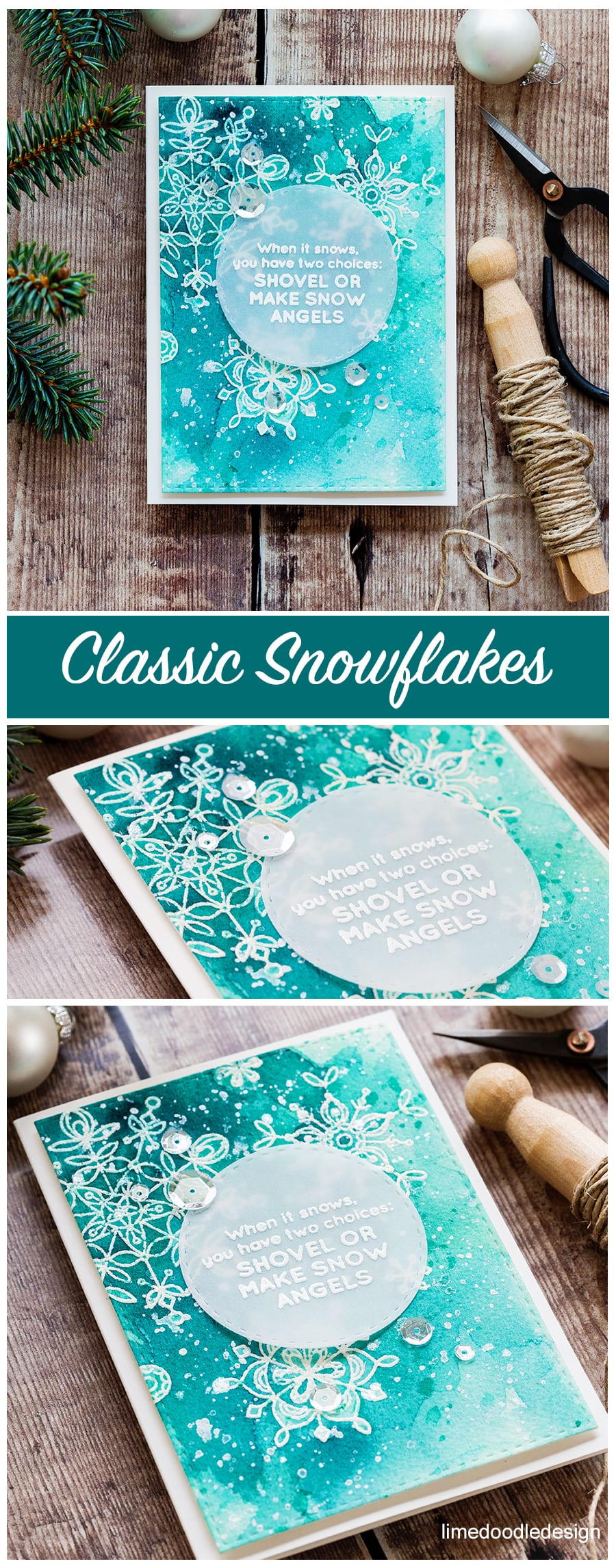 Classic snowflakes card by Debby Hughes - heat embossed snowflakes with Gansai Tambi watercolor. Find out more about this card by clicking on the following link: https://limedoodledesign.com/2016/12/classic-snowflakes-january-card-kit/