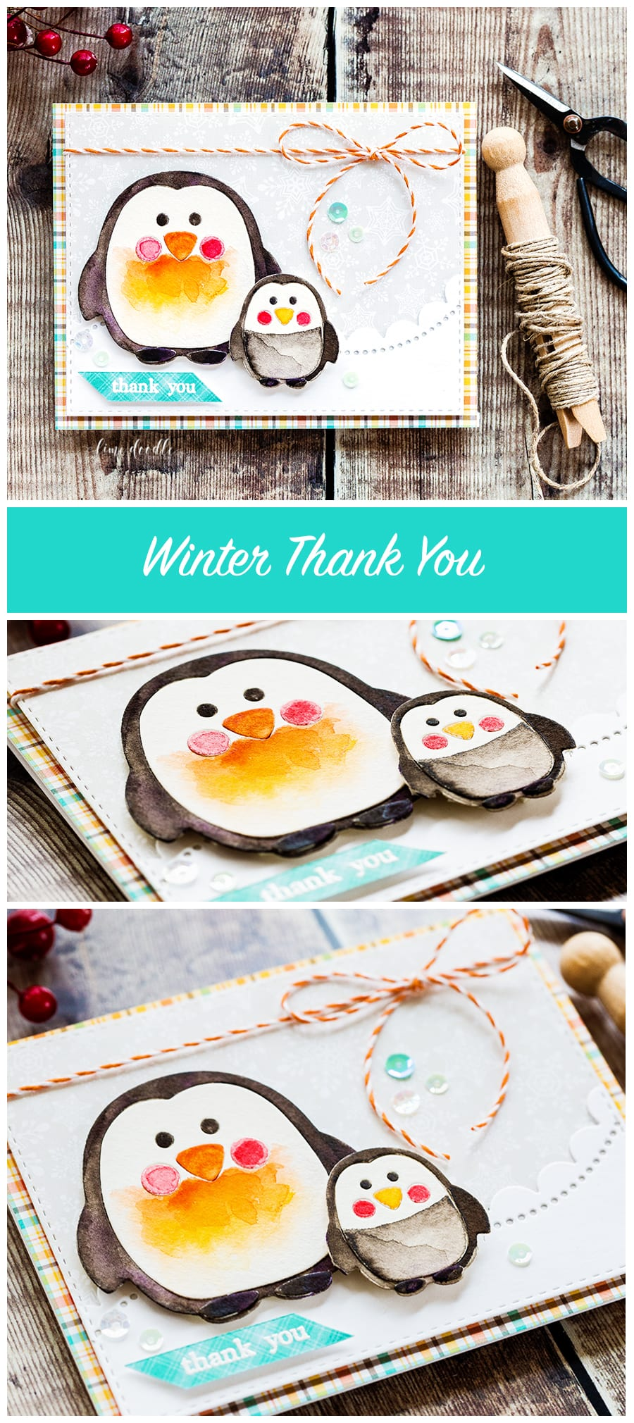 Cute penguin winter thanks. Find out more about this winter thank you card by clicking on the following link: https://limedoodledesign.com/2016/12/cute-penguin-winter-thanks/