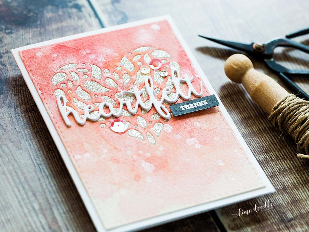 Heartfelt Thanks - inlaid die cutting technique using the Corbel Heart die. Find out more about this card by clicking on the following link: https://limedoodledesign.com/2016/12/heartfelt-thanks-inlaid-die-cutting/