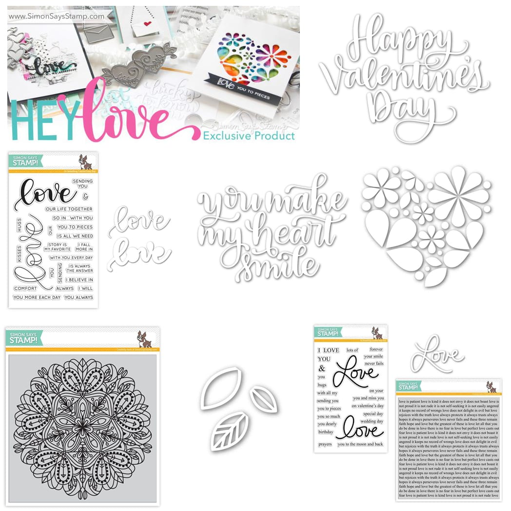 My favorites from the Simon Says Stamp Hey Love Release. Find out more by clicking on the following link: https://limedoodledesign.com/2016/12/hey-love-simon-says-stamp-release/