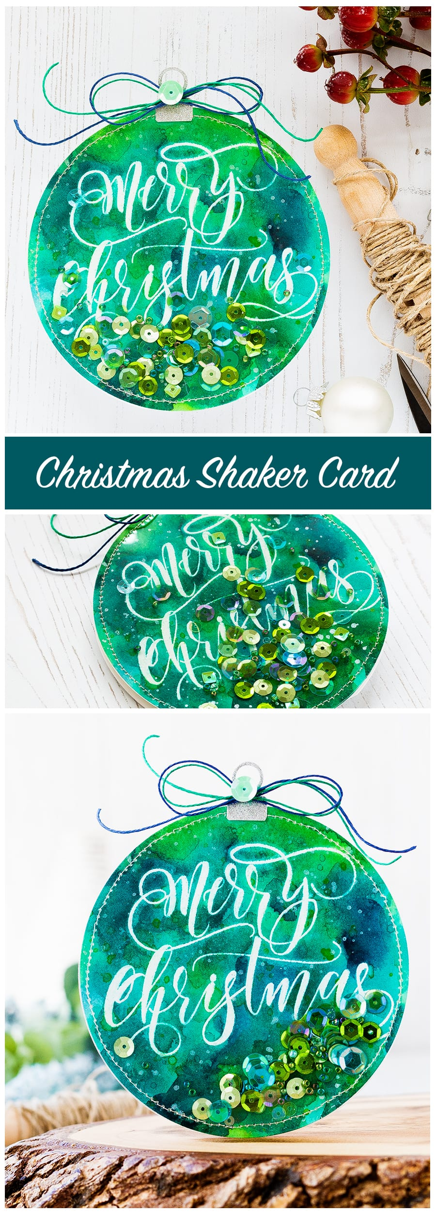 Watercolored Shaker Ornament by Debby Hughes. Find out more about this Christmas card by clicking on the following link: https://limedoodledesign.com/2016/12/watercolored-shaker-ornament/