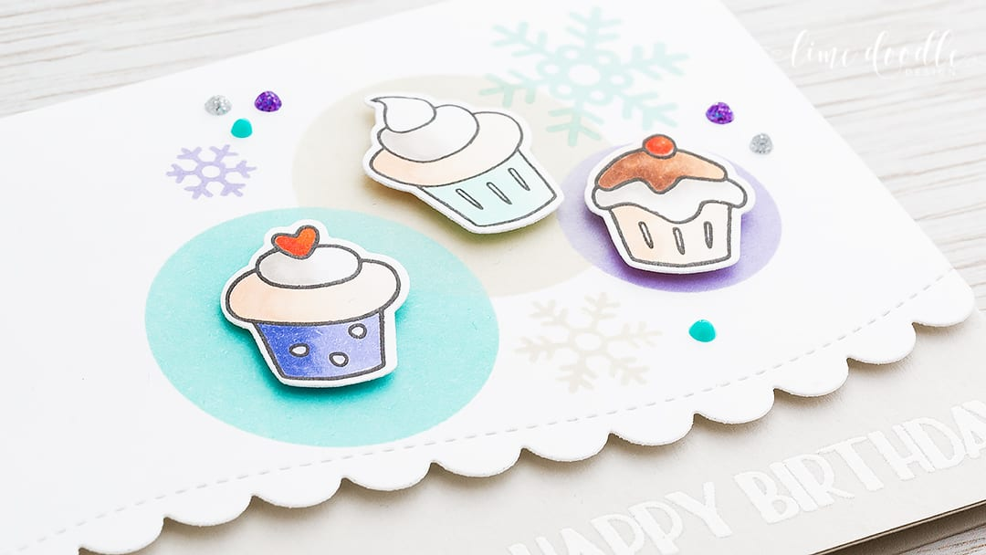 Snowflakes are the perfect accompaniment for a winter birthday card in a cool winter color palette. Find out more by clicking on the following link: https://limedoodledesign.com/2016/12/cool-cupcake-winter-birthday/