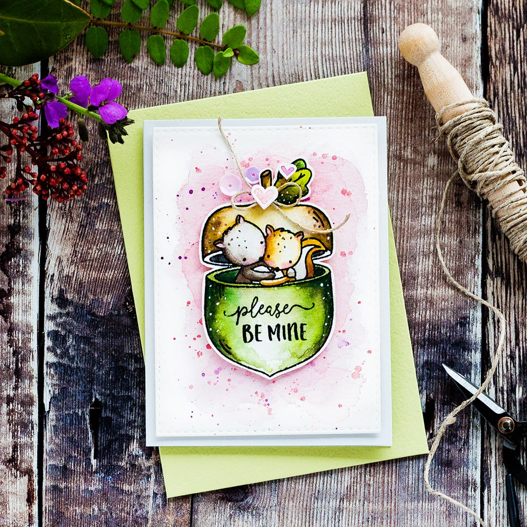 Please Be Mine - My Favorite Nut. Cute squirrel Valentine's card by Debby Hughes using the My Favorite Nut set from Neat & Tangled. Find out more by clicking on the following link: https://limedoodledesign.com/2017/01/please-be-mine-my-favorite-nut/