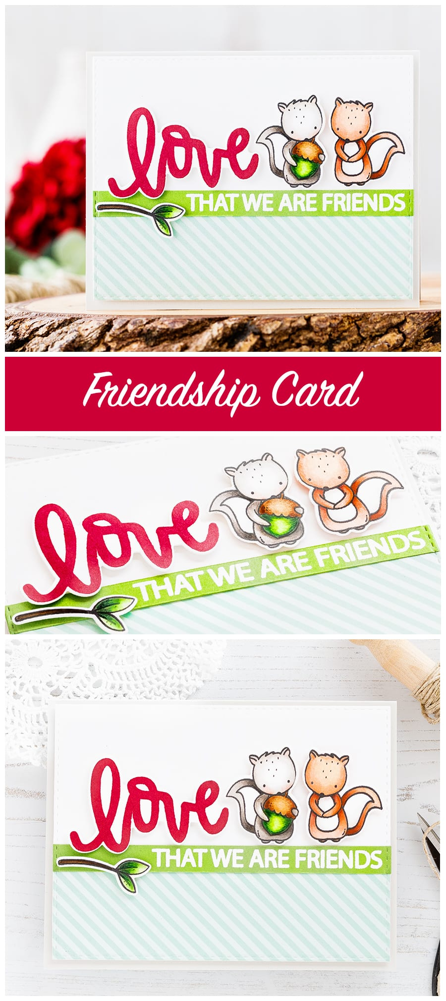 Friendship card - love that we are friends by Debby Hughes. Find out more by clicking on the following link: https://limedoodledesign.com/2017/01/friendship-card-love-that-we-are-friends/