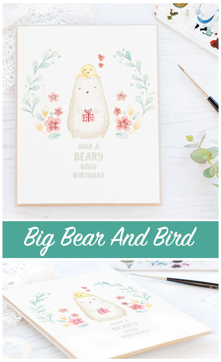 Video how to - soft no line watercoloring by Debby Hughes of the lovely Bear And Bird set from Waffle Flower. Find out more by clicking on the following link: https://limedoodledesign.com/2017/01/video-how-to-soft-no-line-watercoloring/