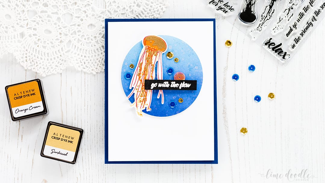 Video - colorful jellyfish floating in a deep blue sea card by Debby Hughes. See the video and find out more about this card by clicking on the following link: https://limedoodledesign.com/2017/02/video-deep-blue-sea-altenew-painted-jellyfish/