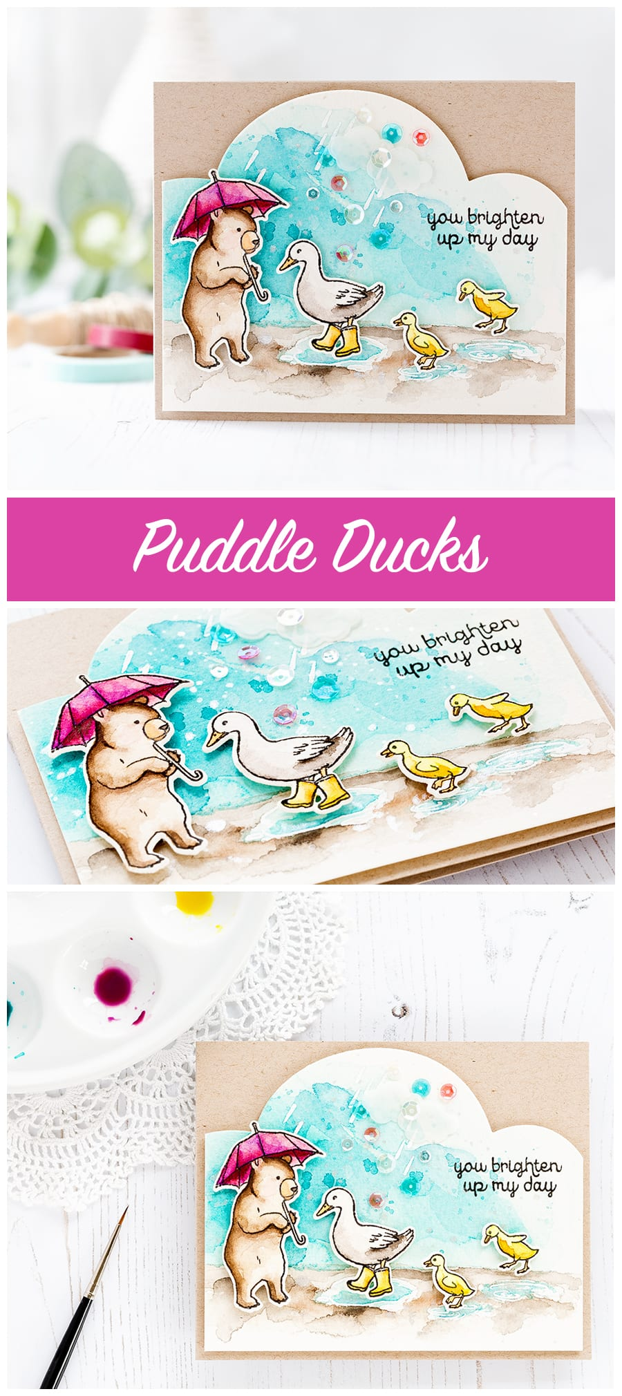 Puddle Ducks card from Debby Hughes using the Hero Arts February My Monthly Hero kit. Find out more about this card by clicking on the following link: https://limedoodledesign.com/2017/02/puddle-ducks-hero-arts-my-monthly-hero/