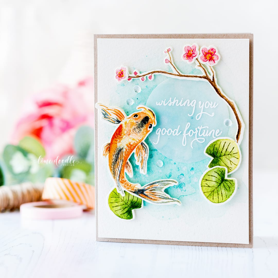 Watercolored koi and spring blossoms from Hero Arts by Debby Hughes. Find out more about this card by clicking on the following link: https://limedoodledesign.com/2017/02/hero-arts-2017-catalog-reveal-blog-hop-card-drive/