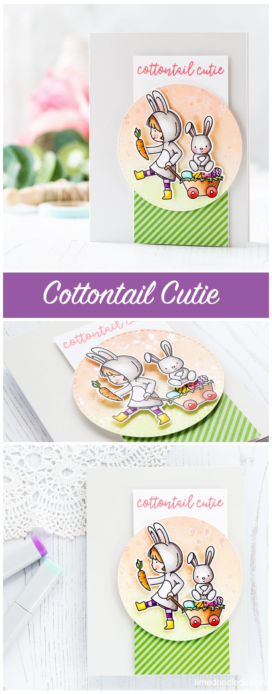Cottontail cutie Easter/Spring/Bunny card by Debby Hughes. Find out more about this card here: https://limedoodledesign.com/2017/02/neat-tangled-cottontail-cuties/