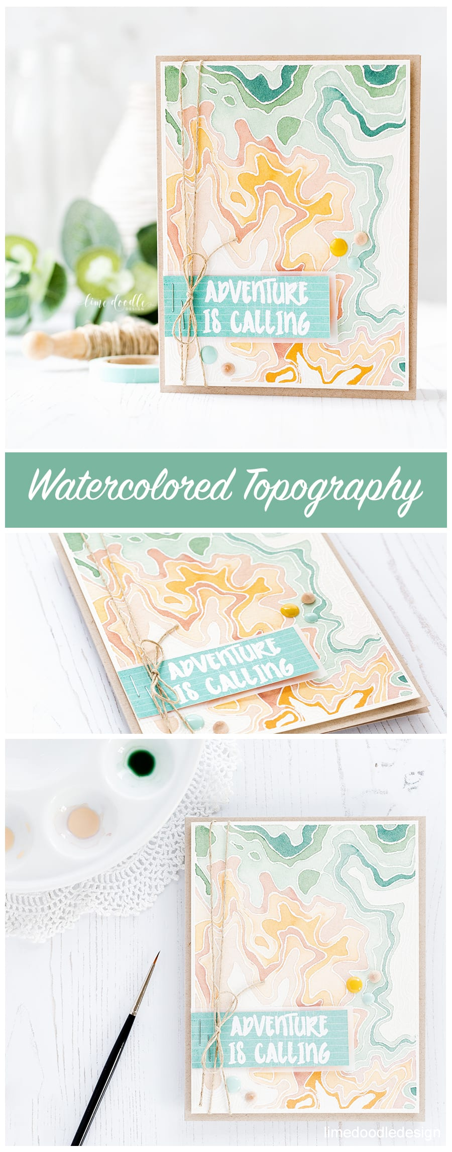 Watercolored topography masculine card by Debby Hughes. Find out more about his card by clicking on the following link: https://limedoodledesign.com/2017/02/watercolored-topography-masculine-card/