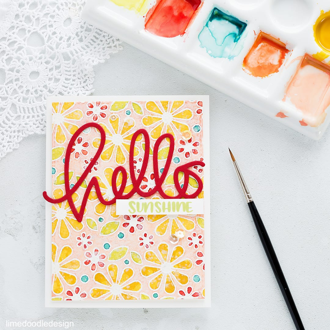 Hello Sunshine card by Debby Hughes using the Simon Says Stamp Hopping Along Limited Edition Card Kit. Find out more about this card by clicking on the following link: https://limedoodledesign.com/2017/02/hopping-along-limited-edition-card-kit/