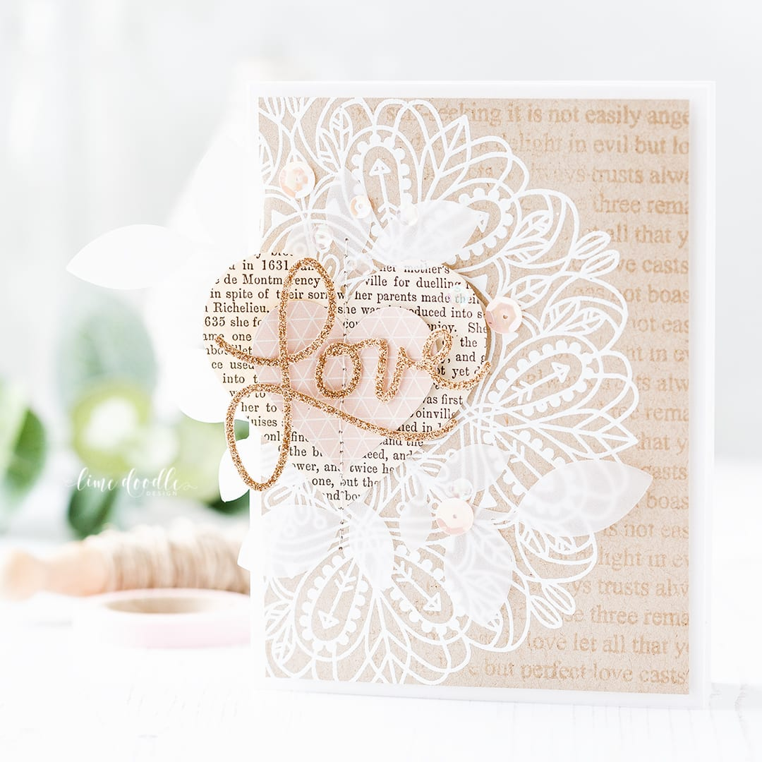 White embossing on kraft Valentine's card by Debby Hughes. Find out more about this card by clicking on the following link: https://limedoodledesign.com/2017/02/white-embossing-on-kraft/
