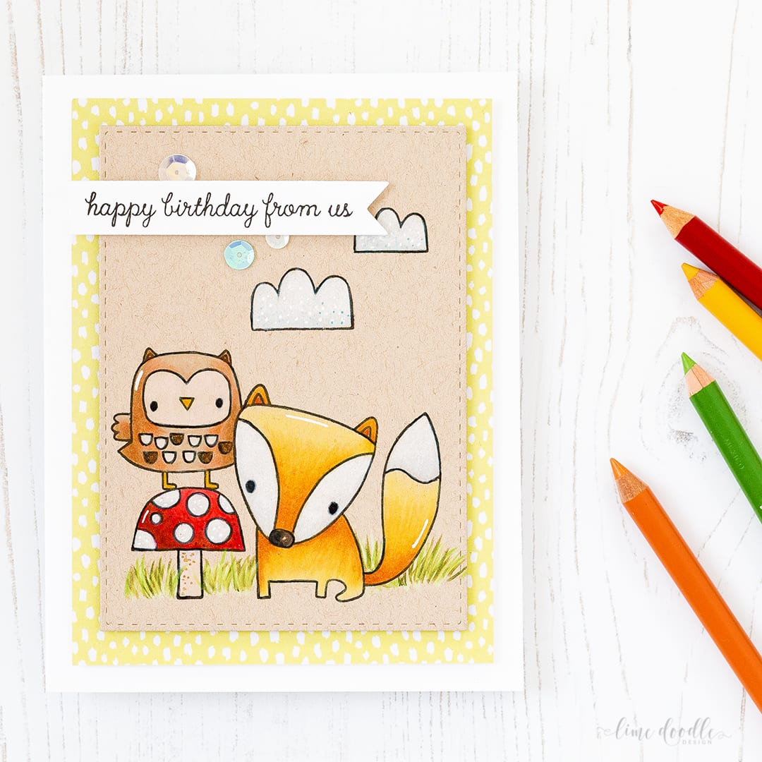 Video tutorial - pencil coloring on kraft card by Debby Hughes. Find out more by clicking on the following link: https://limedoodledesign.com/2017/02/video-spring-critters-coloured-pencils-on-kraft/