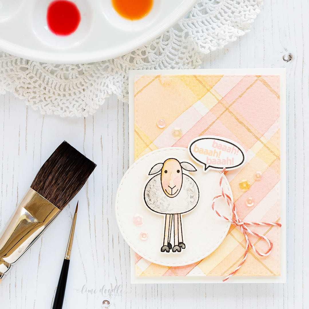 Doodling With Debby - watercolored spring plaid background. Find out more about this card here: https://limedoodledesign.com/2017/02/doodling-with-debby-pastel-spring-watercolored-plaid/