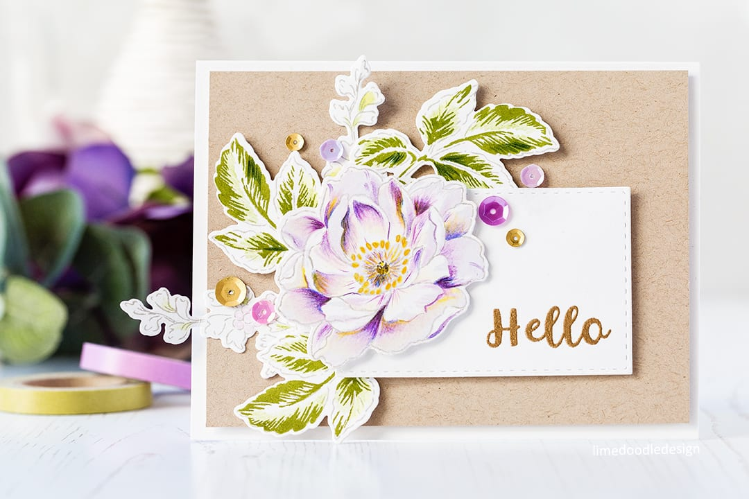 Accenting stamped images with coloured pencils by Debby Hughes. Find out more about this card by clicking on the following link: https://limedoodledesign.com/2017/03/accenting-stamped-images-with-colored-pencils/