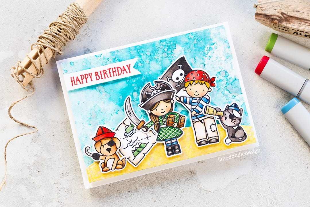 Yo Ho Ho pirate birthday card by Debby Hughes. Find out more about this card by clicking on the following link: https://limedoodledesign.com/2017/03/video-yo-ho-ho-neat-tangled-new-release-distress-oxides/
