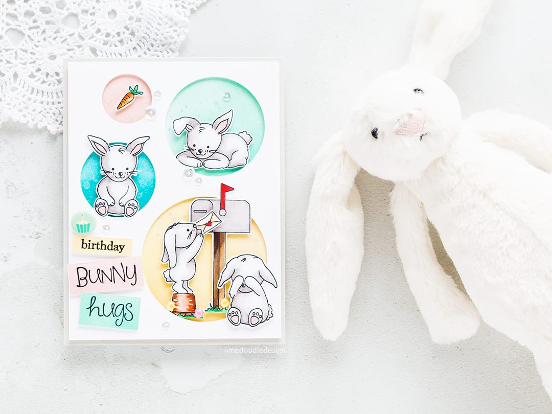 Bunny birthday card by Debby Hughes. Find out more by clicking on the following link: https://limedoodledesign.com/2017/03/simon-says-stamp-new-beginnings-blog-hop-giveaway/