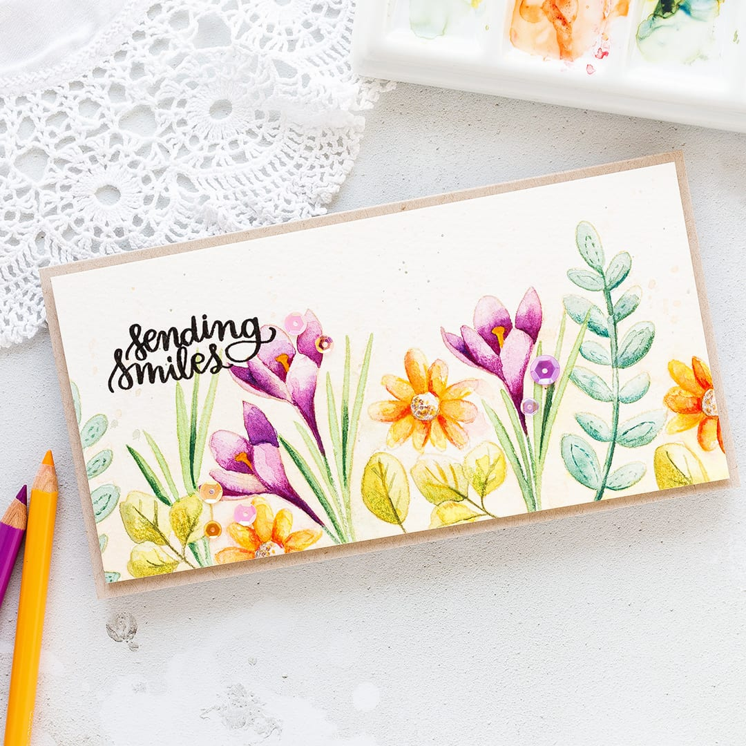 Video - no line watercoloured spring flowers card by Debby Hughes. For more about this card please visit: https://limedoodledesign.com/2017/03/video-spring-flowers-watercolour/