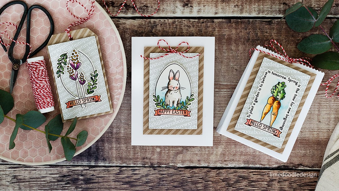 Spring is in the air - easter trio of tag, card and treat bag by Debby Hughes. Find out more by clicking on the following link: https://limedoodledesign.com/2017/03/spring-is-in-the-air-easter-trio/