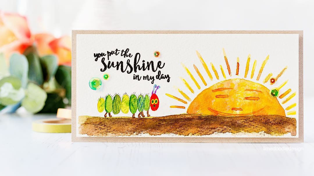 Watercolour by Debby Hughes inspired by The Very Hungry Caterpillar book. Find out more about this card by clicking on the following link: https://limedoodledesign.com/2017/03/the-very-hungry-caterpillar/