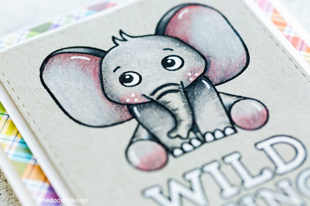 Pencil colouring on kraft cute critters cards by Debby Hughes. Find out more by clicking on the following link: https://limedoodledesign.com/2017/03/pencil-coloring-on-kraft-simon-says-stamp-card-kit/