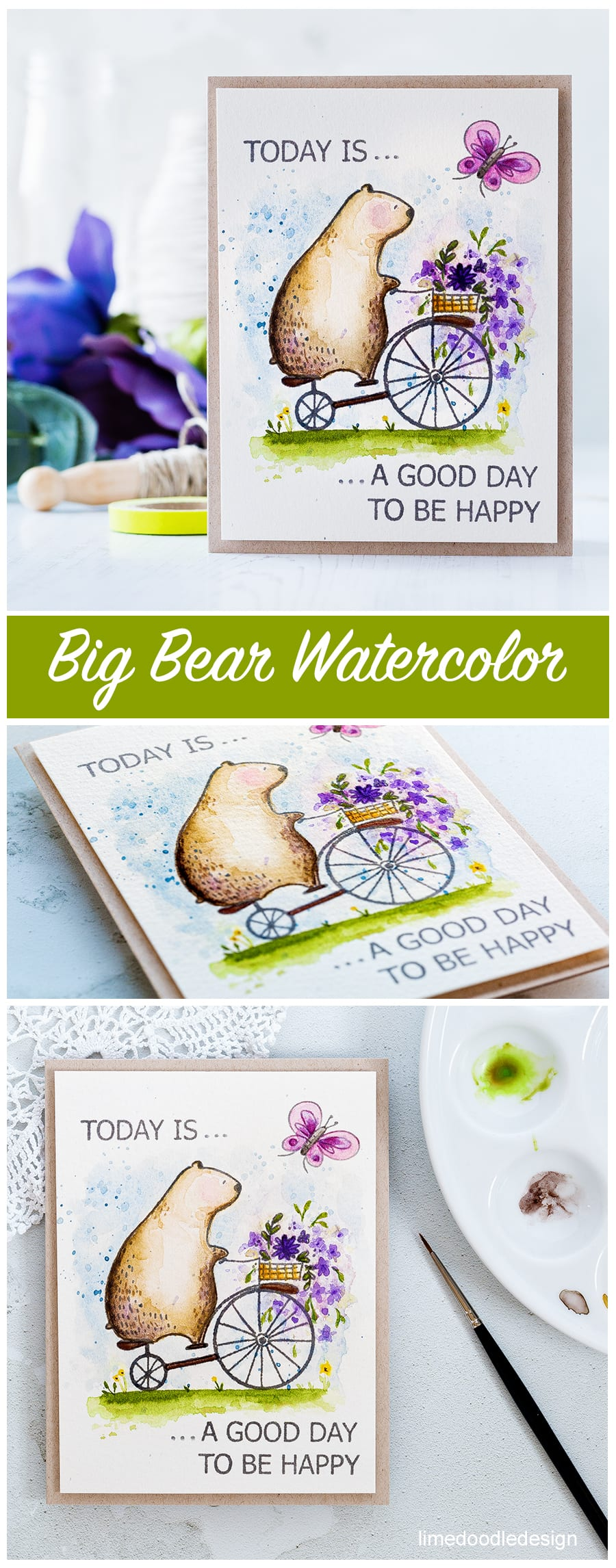 Big Bear watercolor by Debby Hughes using a new Big Bear & Bird set for Waffle Flower. Find out more about this card and the new release by clicking on the following link: https://limedoodledesign.com/2017/03/waffle-flower-spring-release-watercolored-big-bear/