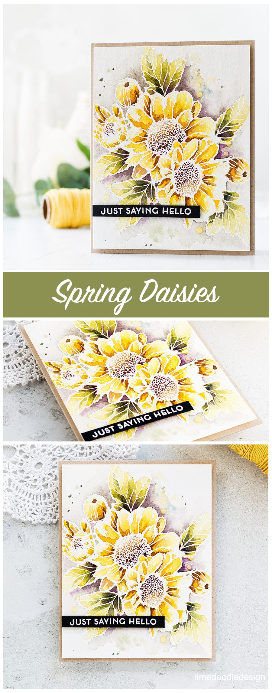 Just saying hello - watercoloured Altenew Spring Daisy card by Debby Hughes. Find out more about this card by clicking on the following link: https://limedoodledesign.com/2017/04/altenews-3rd-anniversary-blog-hop-giveaway-winner/