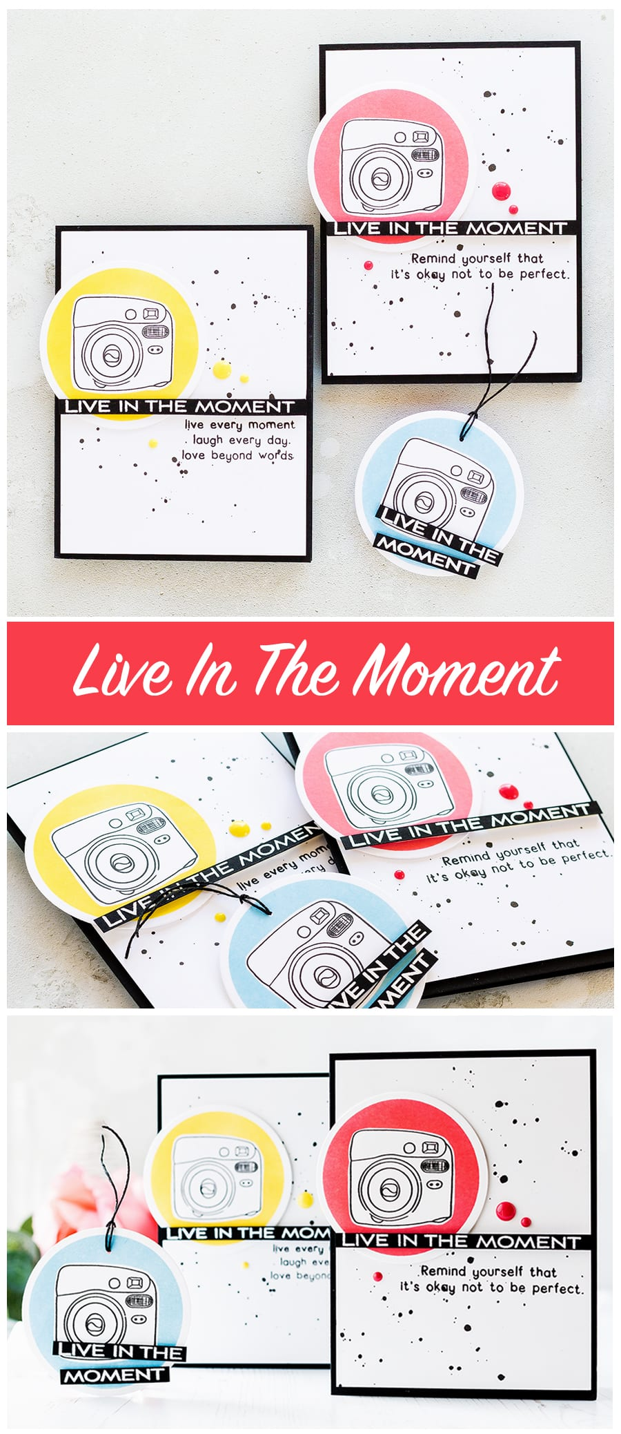 Camera card and tag trio by Debby Hughes inspired by the Instax Mini 8 camera. Find out more about this project by clicking on the following link: https://limedoodledesign.com/2017/04/live-in-the-moment/