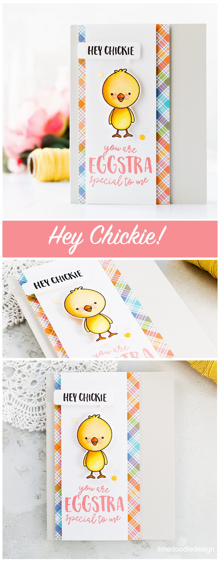 Eggstra Special card by Debby Hughes. Find out more about this Easter chick card by clicking on the following link: https://limedoodledesign.com/2017/04/eggstra-special/