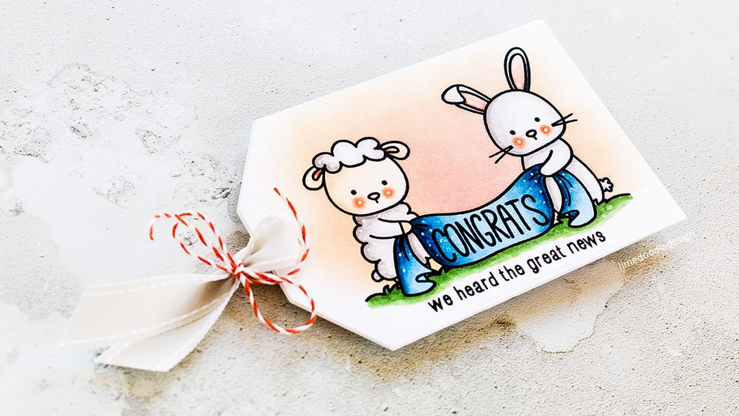 New baby, congrats tag card by Debby Hughes. Find out more about this card by clicking on the following link: https://limedoodledesign.com/2017/04/congrats-tag-card/