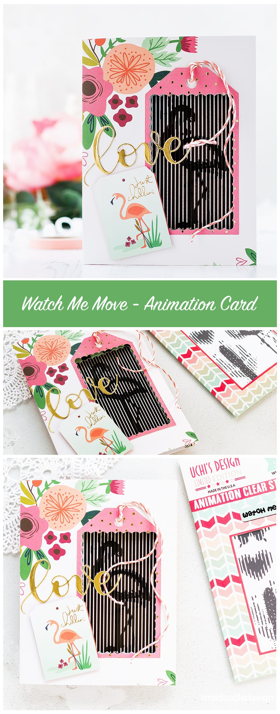 A look (including video) at the innovative animation stamps from Uchi's Design. Find out more about this card by clicking on the following link: https://limedoodledesign.com/2017/04/video-watch-me-move-animation-card/