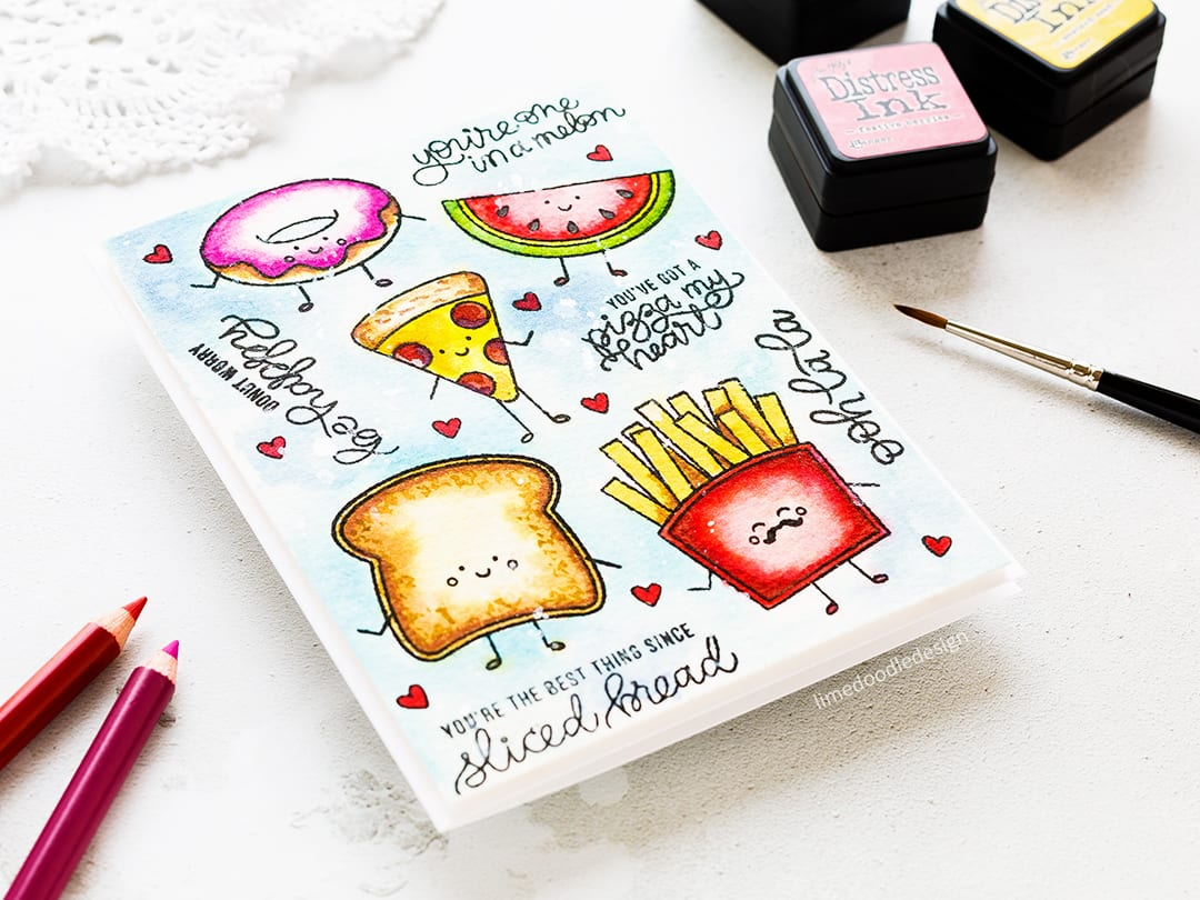 Funny food watercoloured card by Debby Hughes. Find out more about this card by clicking on the following link: https://limedoodledesign.com/2017/04/doodling-with-debby-funny-food-watercolour/