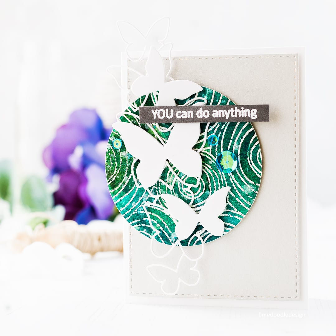 Set of three butterfly encouragement cards by Debby Hughes using a colourful watercoloured background circle to set off the white die cut butterflies. Find out more about these cards by clicking on the following link: https://limedoodledesign.com/2017/04/you-can-do-anything-butterfly-encouragement-card-set/