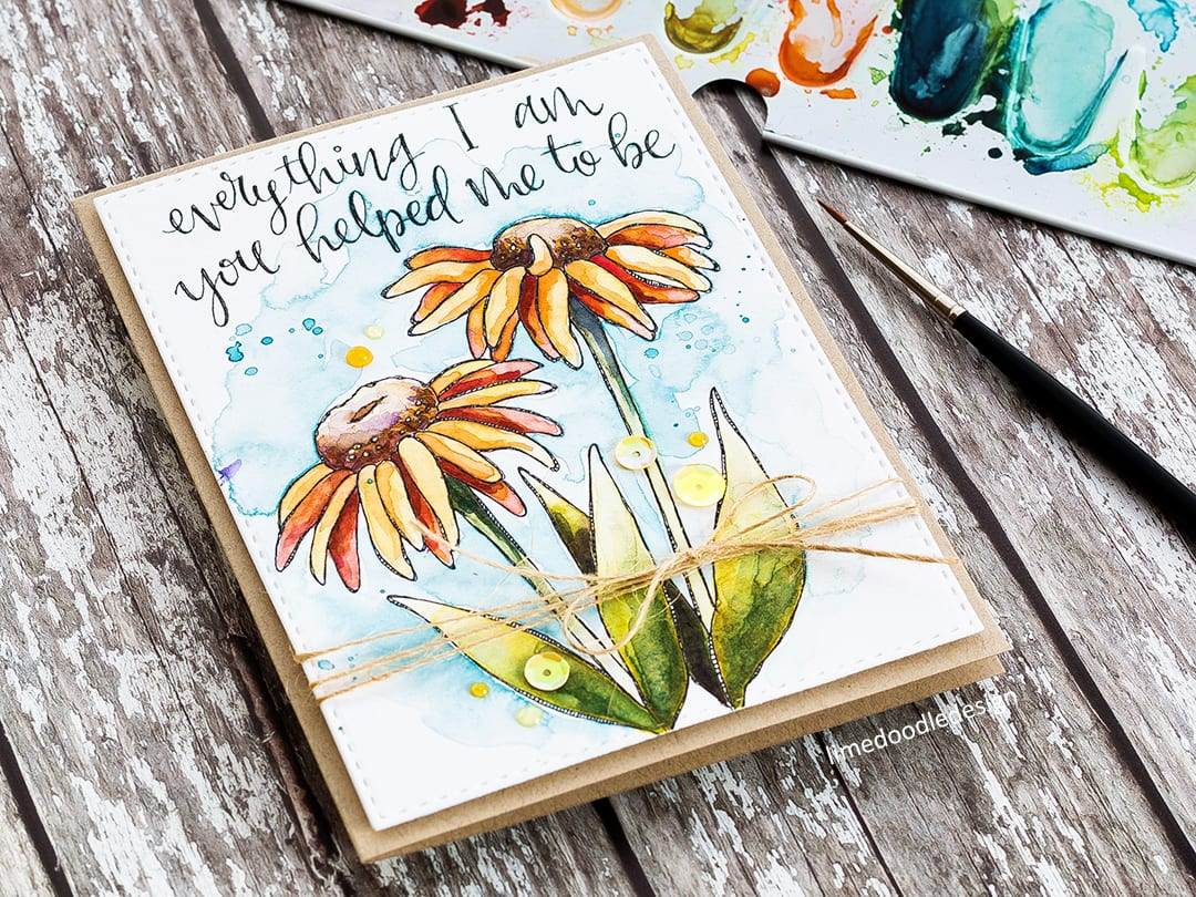 Printed watercolour card by Debby Hughes. Find out more about this card by clicking on the following link: https://limedoodledesign.com/2017/04/printed-watercolour-card/