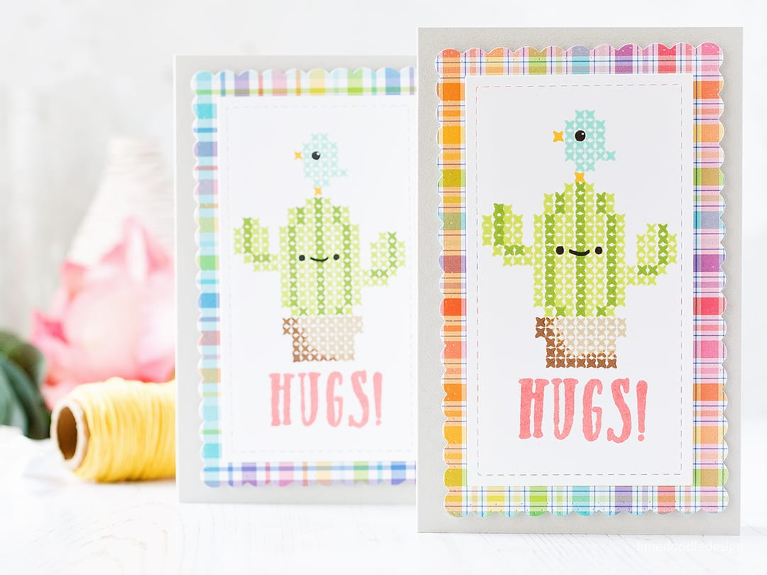 Stitched cacti card duo by Debby Hughes using the Stitched Cacti set from Waffle Flower. Find out more about these cute cards by clicking on the following link: https://limedoodledesign.com/2017/04/stitched-cacti-cuties/