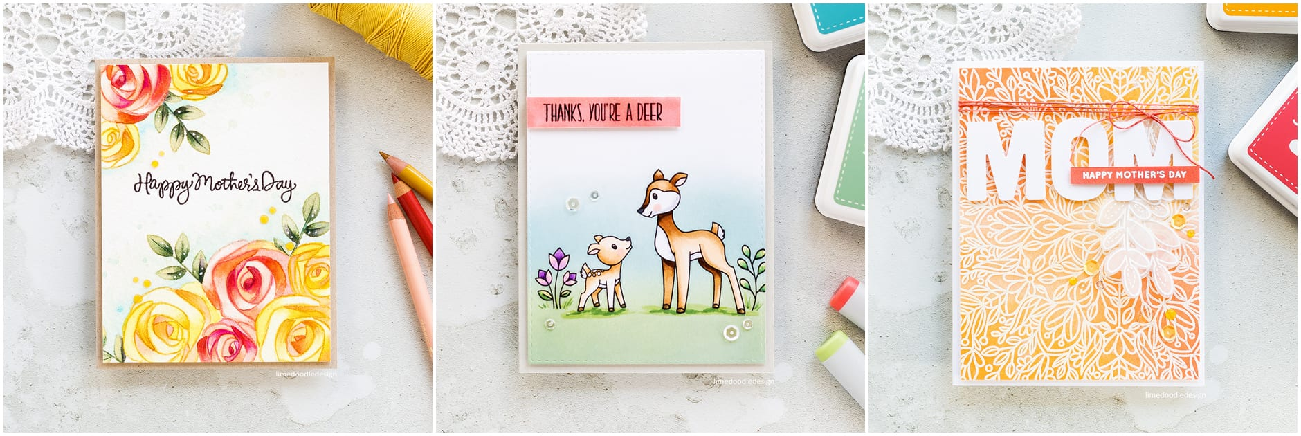 Three cards by Debby Hughes using the new Mothers Fathers Flowers release from Simon Says Stamp. Find out more by clicking on the following link: https://limedoodledesign.com/2017/04/mothers-fathers-flowers-sss-release-hop/