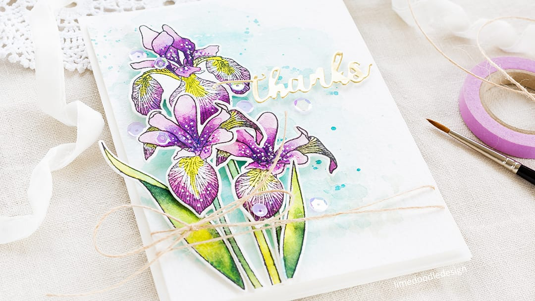 Watercoloured Iris card by Debby Hughes. Find out more about this thank you card by clicking on the following link: https://limedoodledesign.com/2017/05/altenew-may-2017-release-blog-hop-giveaway/