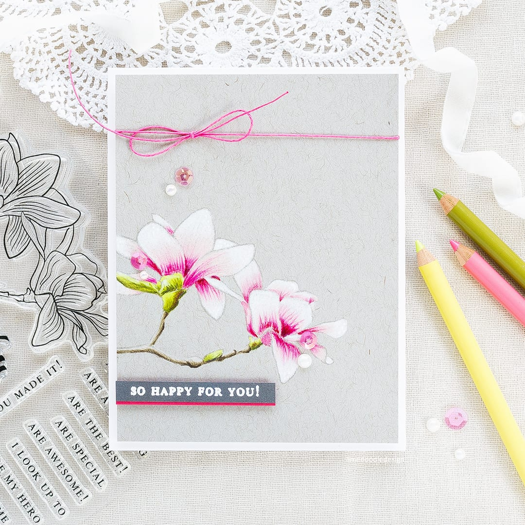 Pencil coloured magnolia card by Debby Hughes using the new Altenew Build A Flower Magnolia set. Find out more about this card by clicking on the following link: https://limedoodledesign.com/2017/05/altenew-build-a-flower-magnolia-altenew-academy-giveaway/