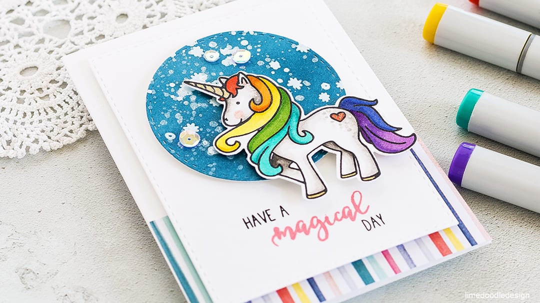 Fun and cute unicorn card by Debby Hughes using the new Magical Day set from Neat & Tangled. Find out more about this card by clicking on the following link: https://limedoodledesign.com/2017/05/magical-rainbow-unicorn/