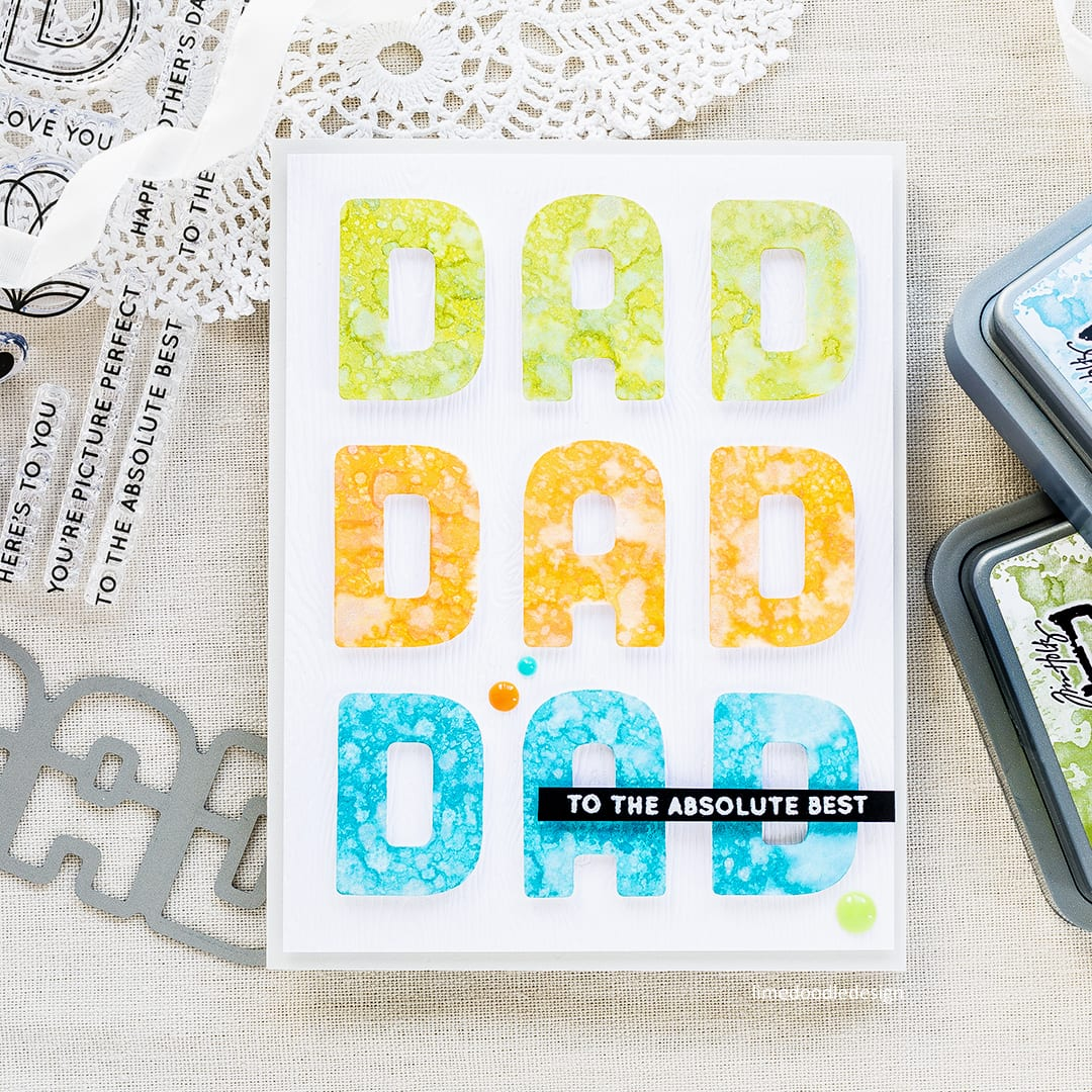Bright, clean and simple Father's Day card by Debby Hughes using the Simon Says Stamp Big Dad die. Find out more about this card by clicking on the following link: https://limedoodledesign.com/2017/05/to-the-absolute-best-dad/