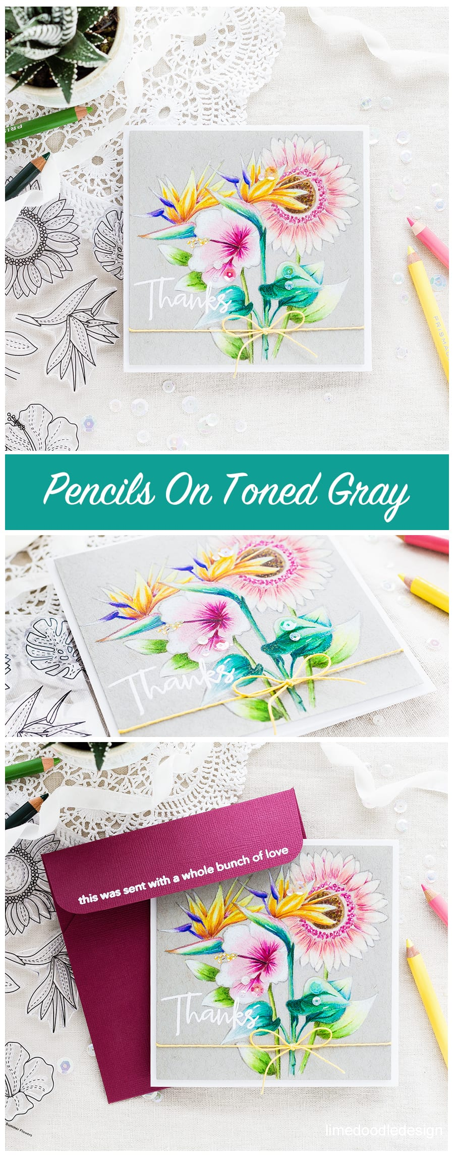 Pencil colouring Summer Flowers by Debby Hughes. Find out more about this summer flowers thanks card by clicking on the following link: https://limedoodledesign.com/2017/05/simon-says-stamp-cherished-release-blog-hop-giveaway/