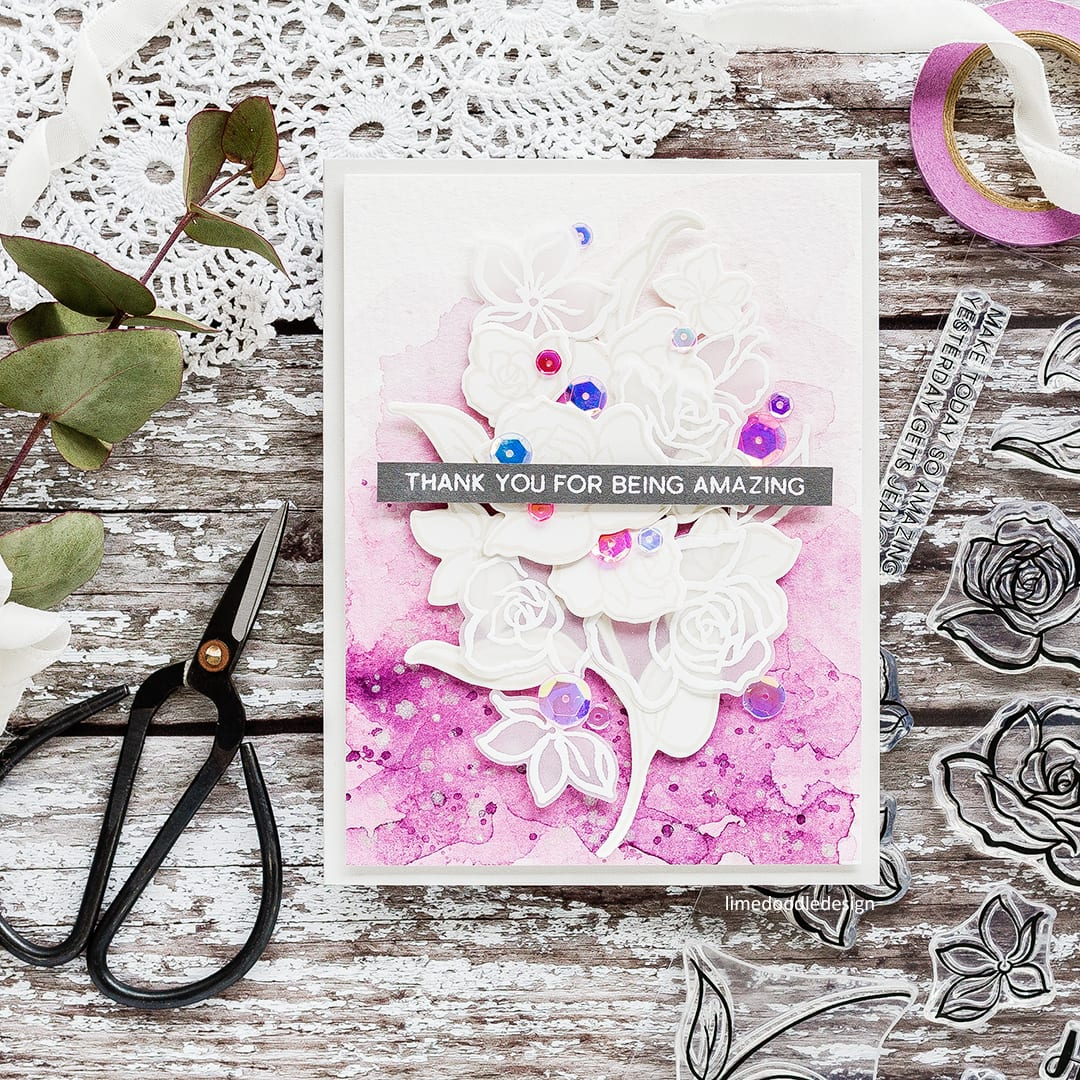 June 2017 Inspiration Challenge by Debby Hughes. Find out more by clicking on the following link: https://limedoodledesign.com/2017/06/altenew-june-inspiration-challenge-winner/