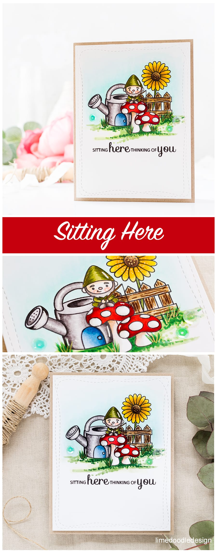 Sitting here thinking of you Garden Gnomes handmade card by Debby Hughes. Find out more about this card by clicking on the following link https://limedoodledesign.com/2017/06/sitting-here-thinking-of-you/