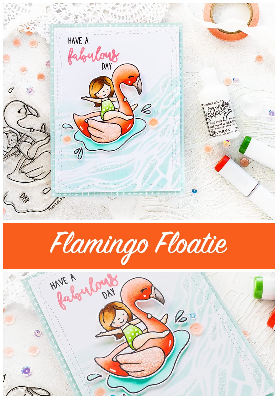 Flamingo Floatie card by Debby Hughes. Find out more about this card by clicking on the following link: https://limedoodledesign.com/2017/06/neat-tangled-flamingo-floatie/