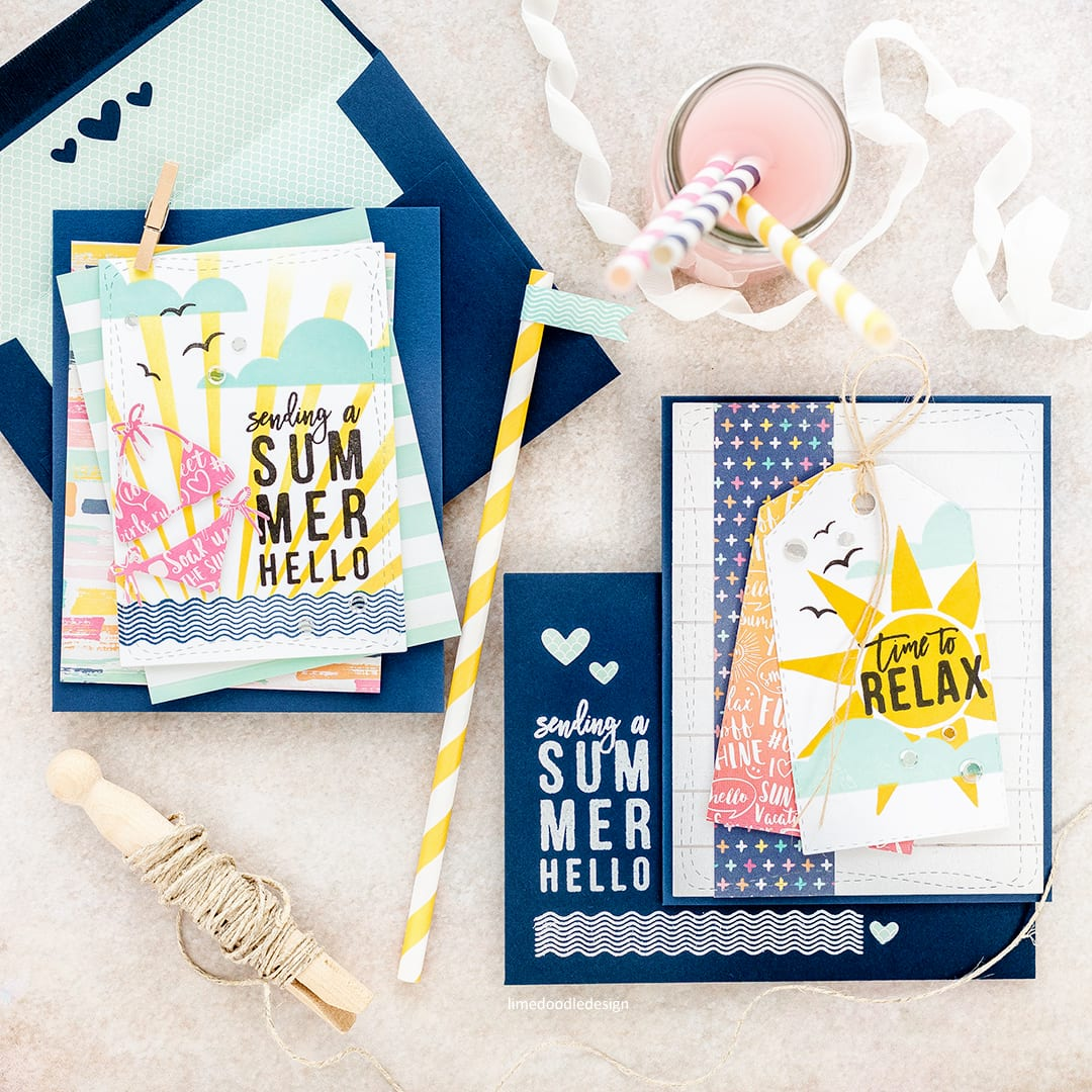 Summer Notecards by Debby Hughes using the Simon Says Stamp July Card Kit. Click here for more information about these cards and envelopes https://limedoodledesign.com/2017/06/sending-a-summer-hello-simon-says-stamp-july-card-kit/
