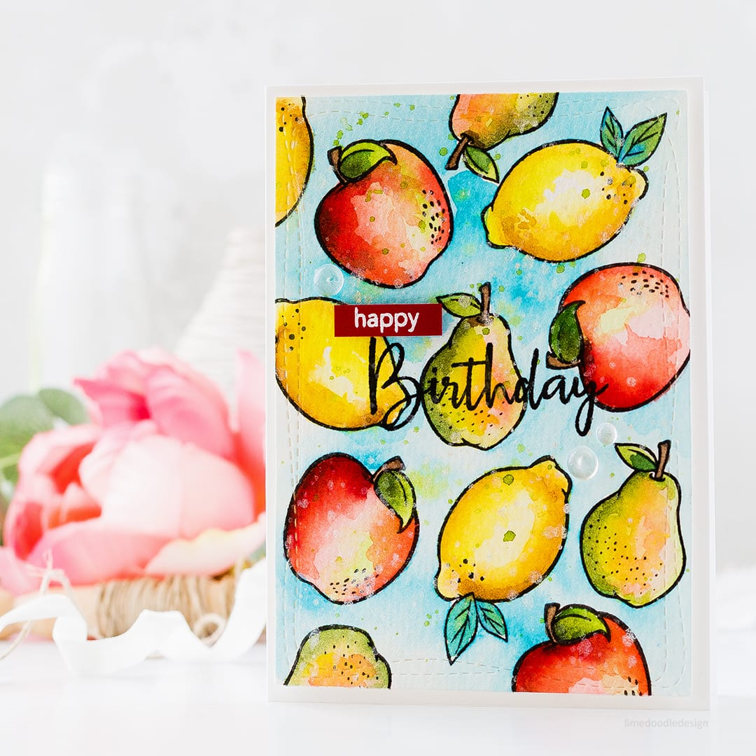 Supplies two ways with the Dancing Fruits set - part of the new release from Simon Says Stamp. Find out more about this card by clicking on the following link: https://limedoodledesign.com/2017/06/supplies-two-ways-simon-says-stamp-new-release/